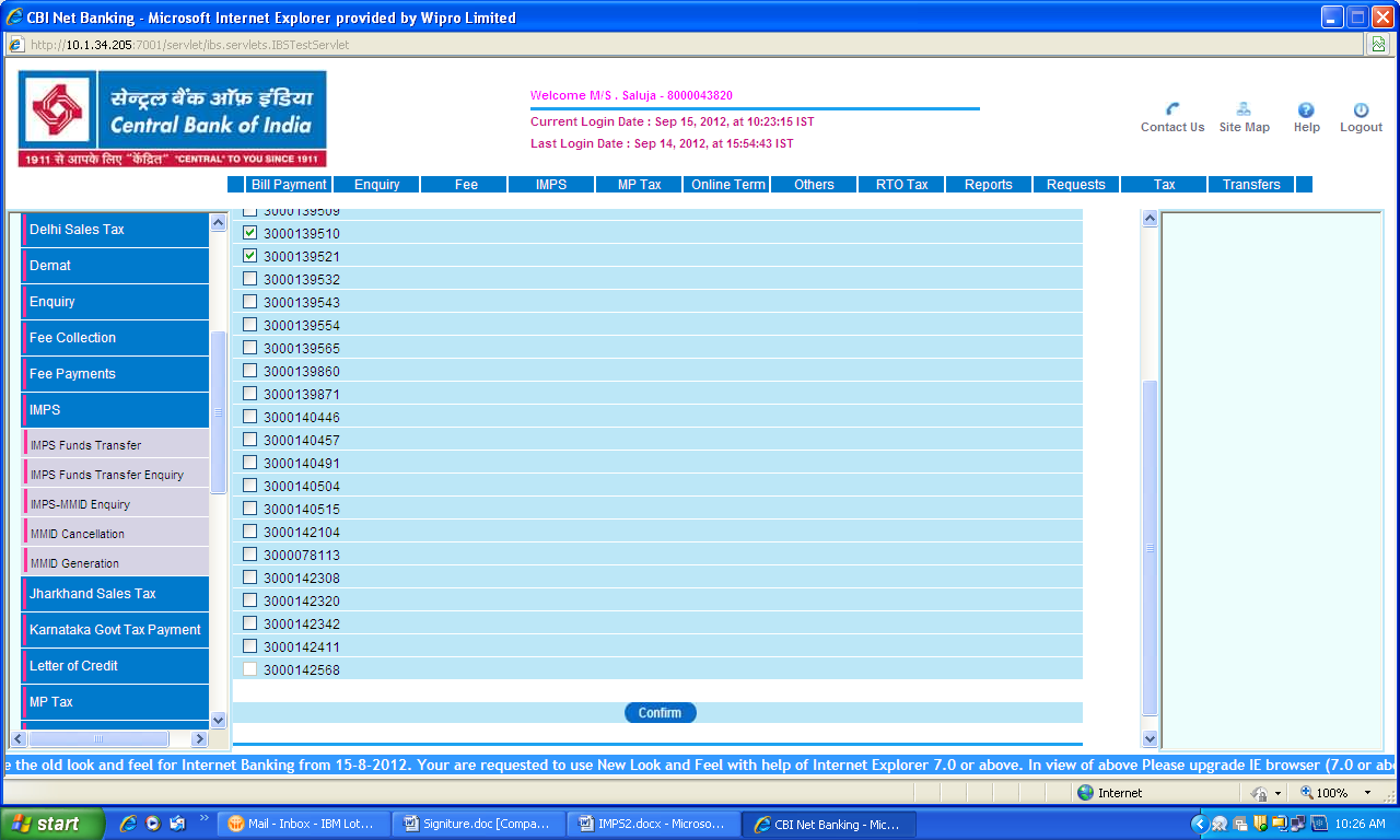Online account balance check in central bank of india number